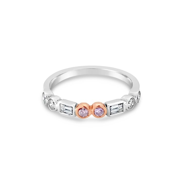 18ct White Gold And Rose Gold Pink And White Diamond Wedding Band
