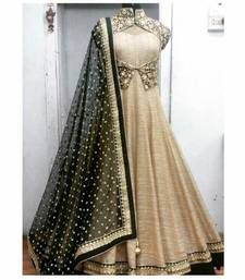 Buy Beige art silk embroidered semi stitiched salwar with dupatta anarkali-salwar-kameez online