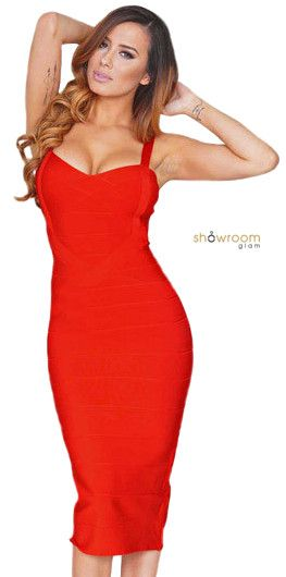Dina Red Bandage Dress - Showroom Glam  - 2