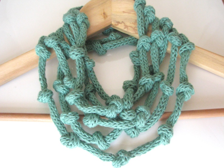 Mint green necklace - knitted jewelry - eco cotton Infinity necklace - Europeanstreetteam. $34.00, via Etsy.