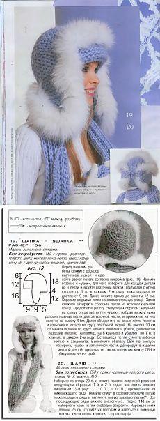 Самая теплая шапка - ушанка с мехом. Вязание спицами.