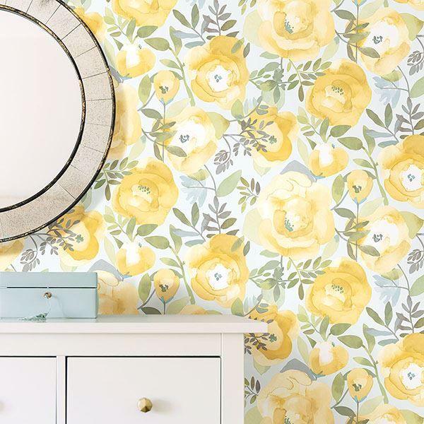 Peachy Keen Yellow Peel Stick Wallpaper In 2020 Nuwallpaper Peel And Stick Wallpaper Wallpaper Roll