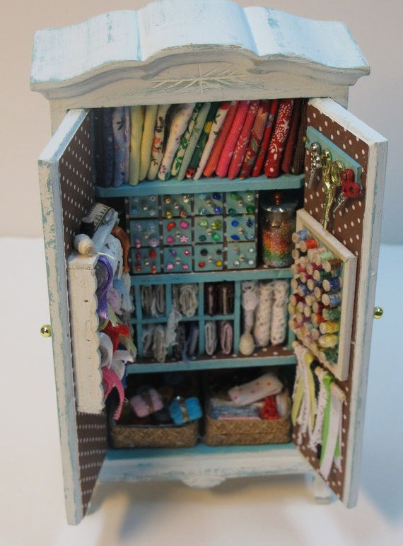 my workroom for miniatures knitting sewing by Mini2Love on Etsy