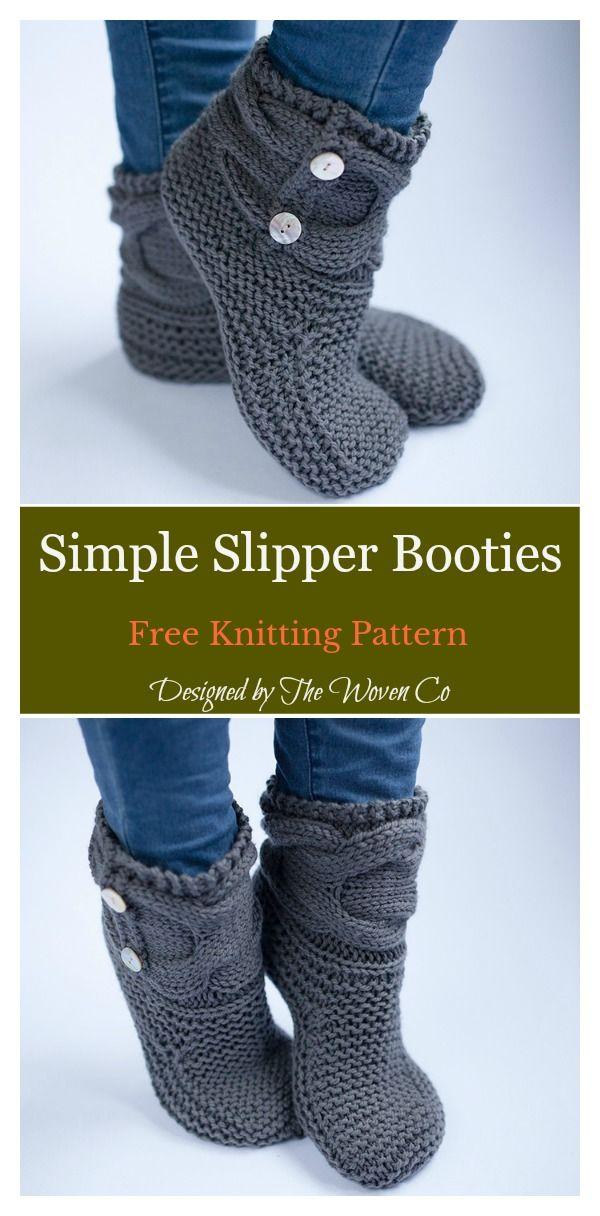 Einfache Slipper Booties Free Knitting Pattern #knittingpatterns
