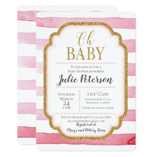 Watercolor baby shower invitation with (faux) gold glitter calligraphy and borders in modern and trendy style by Amistyle Art Studio on Zazzle