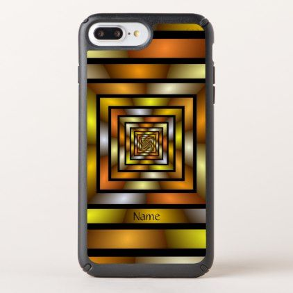 Luminous Tunnel Colorful Graphic Fractal Art Name Speck iPhone Case - monogram gifts unique custom diy personalize