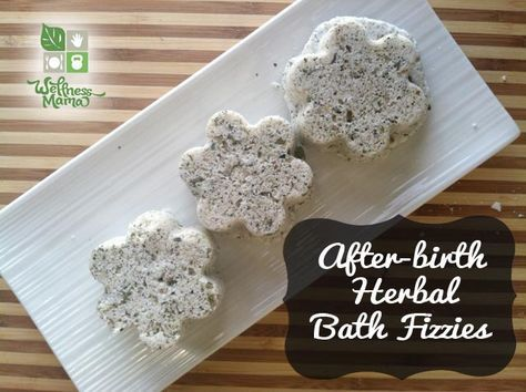 These after-birth bath fizzies use healing herbs and natural salts to create a relaxing and healing post-birth bath.