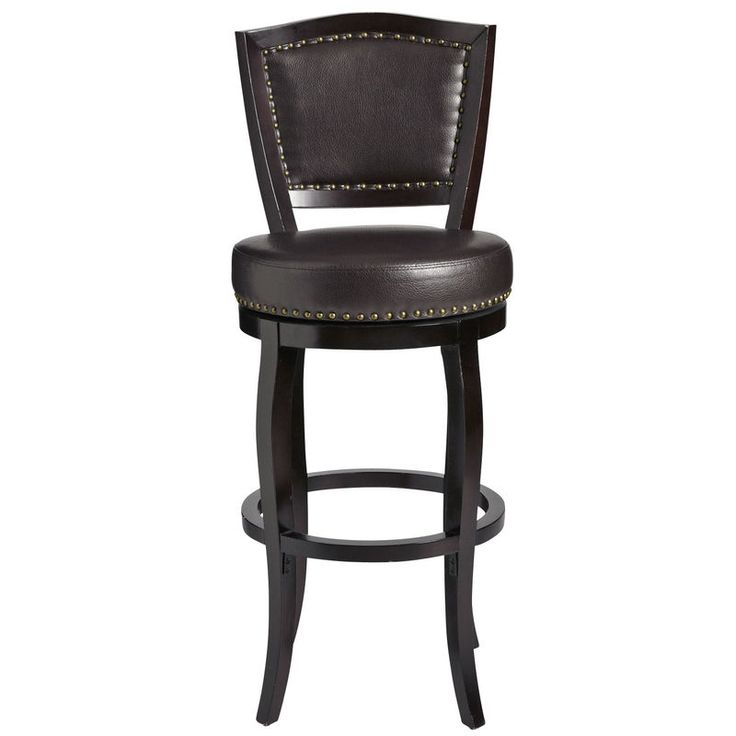 Our spin on the traditional English club stool is thickly padded and upholstered in soft bonded leather with hand-applied nailhead detailing. The solid hardwood frame features a curved camelback top rail and stands firmly on four cabriole legs braced by a contemporary circular stretcher. Upper crust? Rather. But in a swivel-y sort of way.