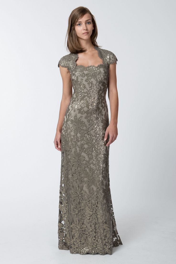 Paillette Embroidered Lace Queen Anne Cap Sleeve Gown in Smoke Pearl - Evening Shop | Tadashi Shoji