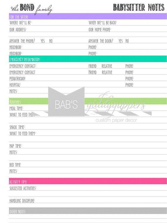 Babysitter Notes Printable by bbond0520 on Etsy, $3.00