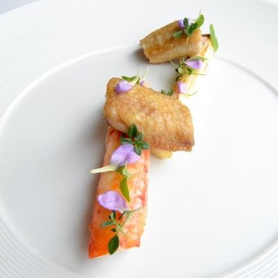 Chicken, king crab and asparagus