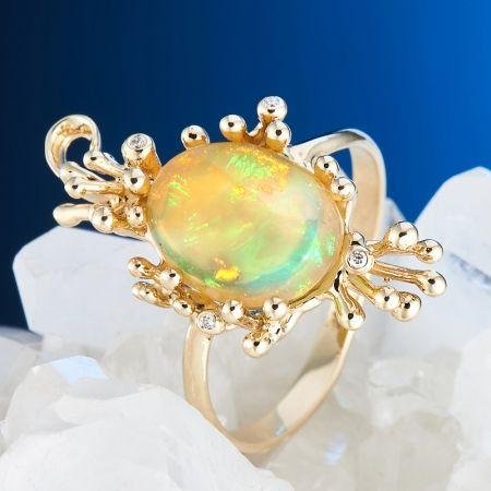 Кольцо опал благородный желтый Эфиопия (золото 585 пр.) размер 17,5
