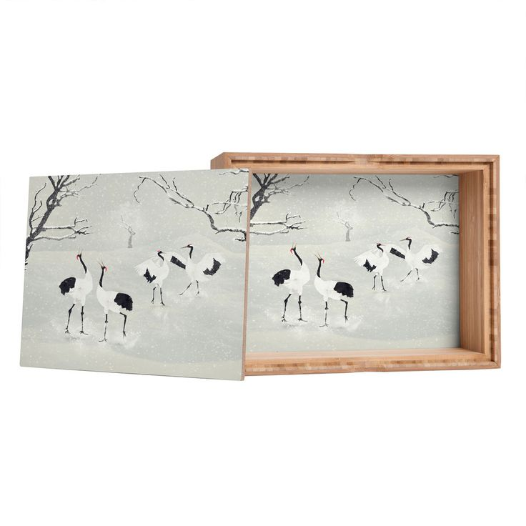 Belle13 Winter Love Dance Of Japanese Cranes Jewelry Box   DENY Designs Home Accessories