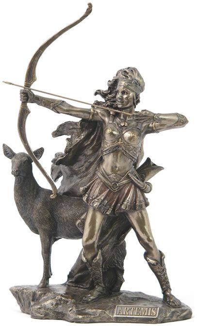 Artemis, Greek Goddess of the Hunt Figurine Statue from the Greek and Roman Reproduction Art Sculpture Collection available at AllSculptures.com