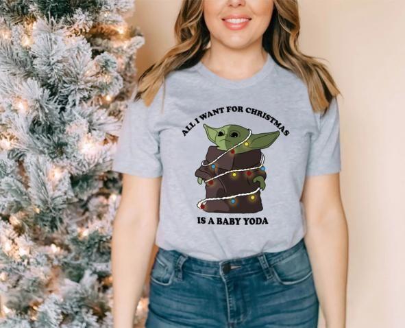 All I Want For Christmas Is A Baby Yoda Shirt The Mandalorian Baby Yoda Star Wars Tshirt Highciti Dinosaur Dinosaur Funny In 2020 Yoda Shirt Shirts Women