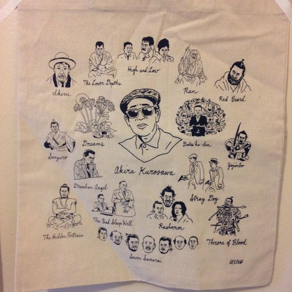 Films of Kurosawa tote bag! The master of samurai and Japanese gangster movies surrounded by his masterpieces. Navy ink on canvas bag.