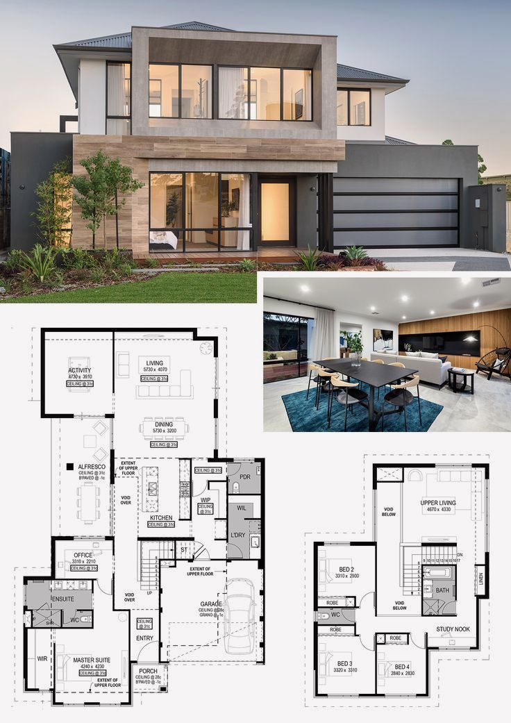 12 Two Storey House Design With Floor Plan With Elevation Pdf Modern House Floor Plans House Layout Plans House Layouts