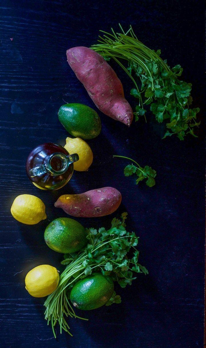 Sweet Potatoes Avocados Lemons and Cilantro