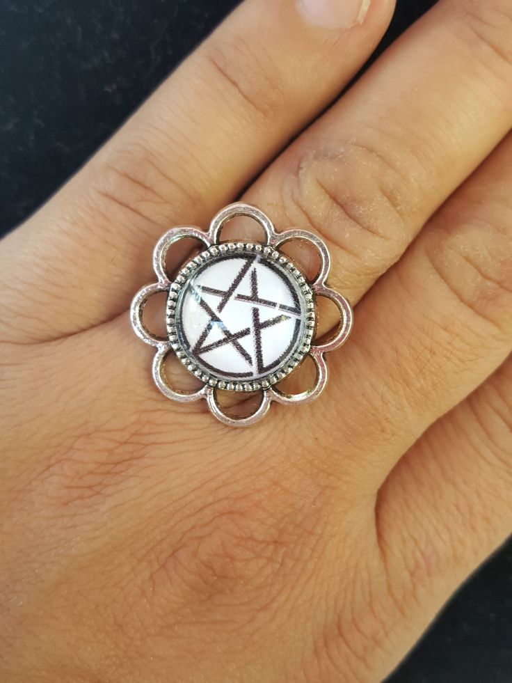 Pentagram Ring, Glass Cabochon Ring, Star Ring, Adjustable Ring, Glass Art Ring, Statement Ring, Supernatural Ring, Wiccan Ring by SomniatoreShop on Etsy