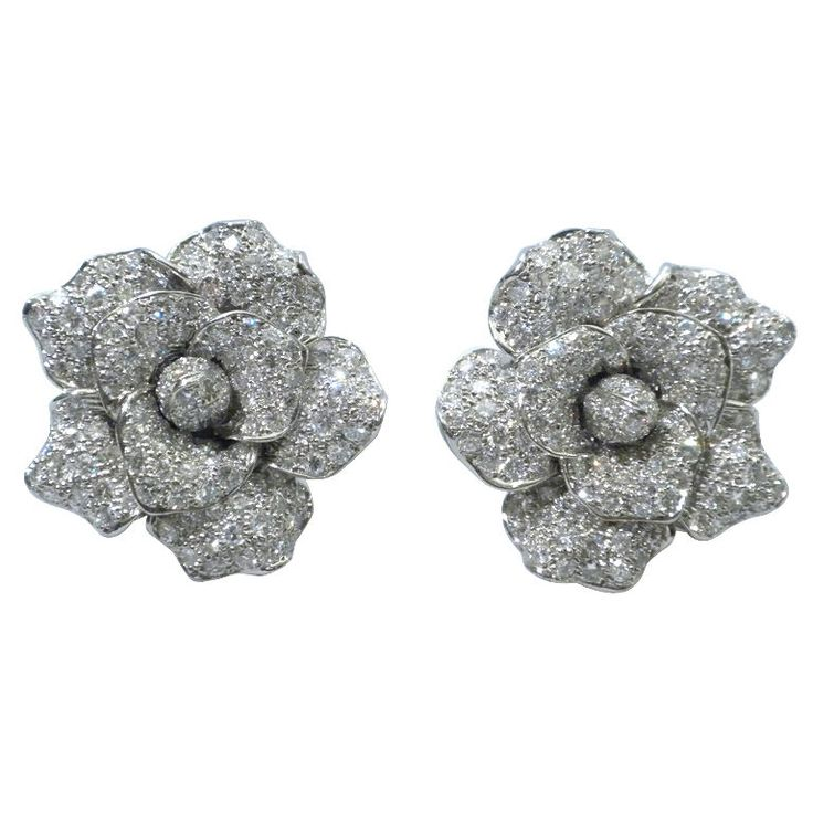 Beautiful Diamond Flower Earrings, Circa 1980