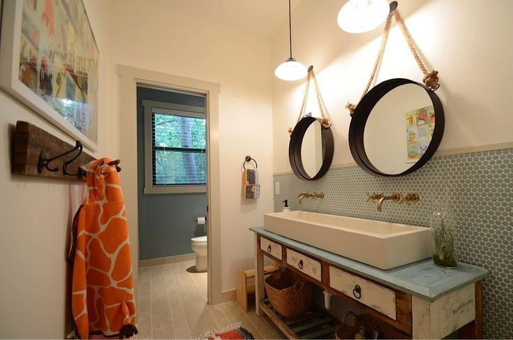 austin trough bathroom sinks with wooden robe and towel hooks transitional penny tile backsplash glass mosaic