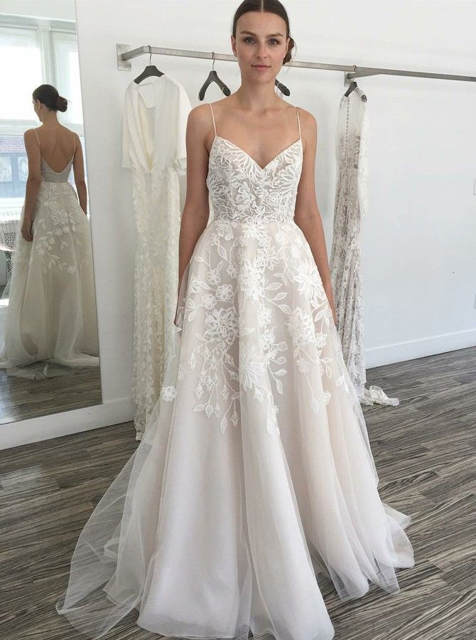 chic spaghetti straps wedding dresses with lace appliques  8c5cbe7699df