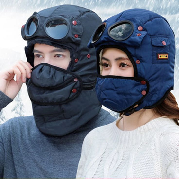 Bomber hats and mask pilot goggles warm aviator hats