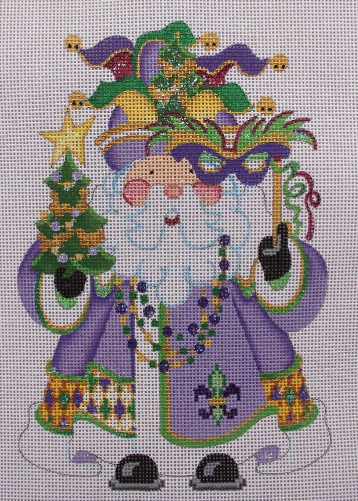 Strictly Christmas Mardi Gras Santa COCS-13 Hand Painted Needlepoint Canvas #StrictlyChristmas