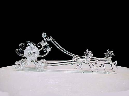 Cinderella wedding cake top all genuine hand blown glass carriage with two horses and driver ...