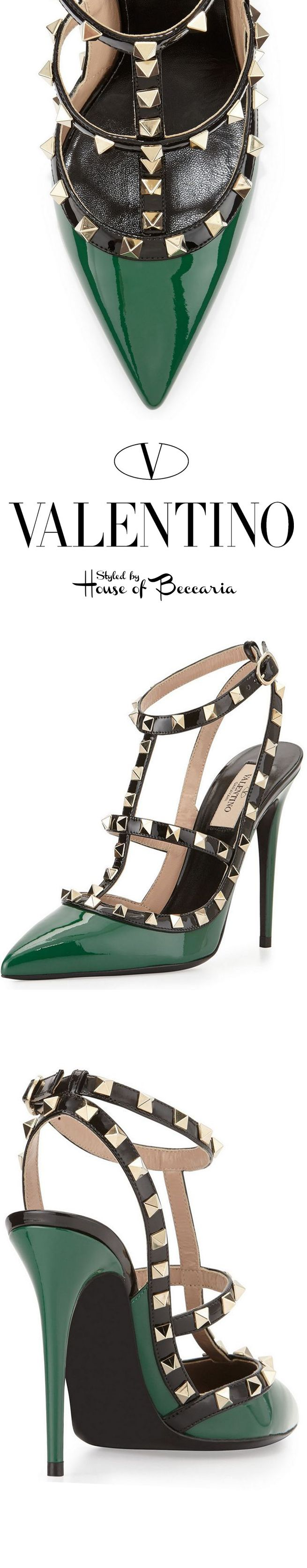 ~Valentino Rockstud Emerald Colorblock, Patent Leather Pump | House of Beccaria#