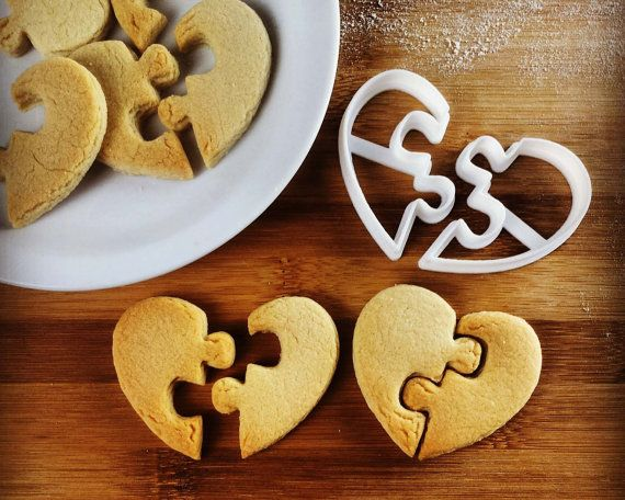 Heart Shaped Jigsaw Puzzle cookie cutter / biscuit dough cutters tiling puzzles interlocking hearts interlocked love   one of a kind ooak