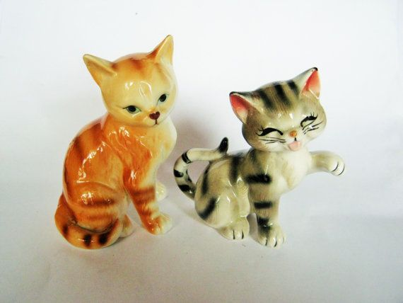 Vintage Tiger stripe Tabby gingembre Orange Cat Japon chaton Figurine porcelaine ludique Figure Kitty Cat au Japon ? Lefton Napco ?