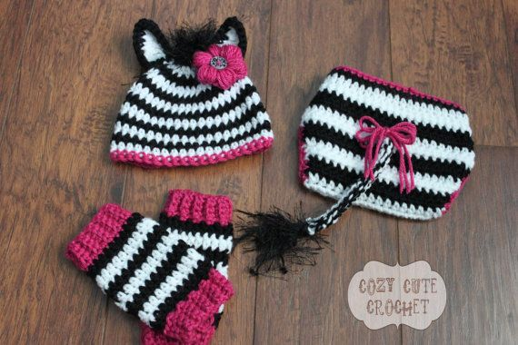 Crochet Baby Zebra Hat Pattern : Zebra Hat, Leg Warmers, and Diaper Cover Set- Crochet Hat ...