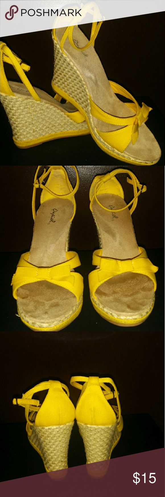 Yellow wedge heels Yellow canvas wedge heels Qupid  Shoes Wedges