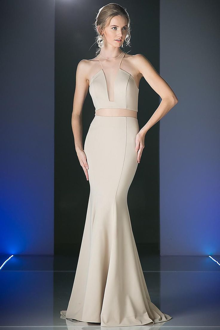 BG1826 in khaki and black in store now. This floor length, sleeveless, high neck with razor back and mesh midriff is on trend. With it's elegant soft mermaid skirt you cannot go wrong.