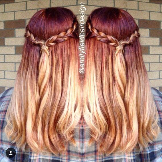Rich red to blonde ombré hair by Emily Field. IG: @emilyfieldhairdesign