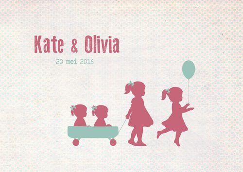 Geboortekaartje tweeling Kate en Olivia - voorkant - Pimpelpluis - https://www.facebook.com/pages/Pimpelpluis/188675421305550?ref=hl (#  meisjes - grote zus - roze - silhouet - origineel)