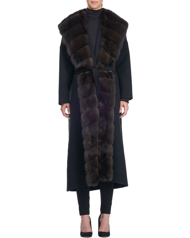 Giuliana Teso Wool-Blend Coat with Sable Fur Trim