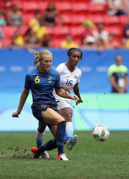 Magdalena Eriksson of Sweden battles for the ball against Crystal Dunn of United…
