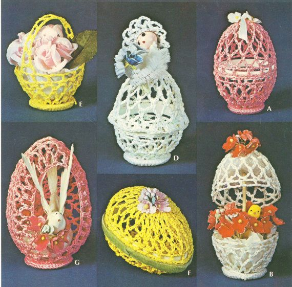 Easter Eggs & Baskets Vintage Crochet Pattern PDF by indiesommer2