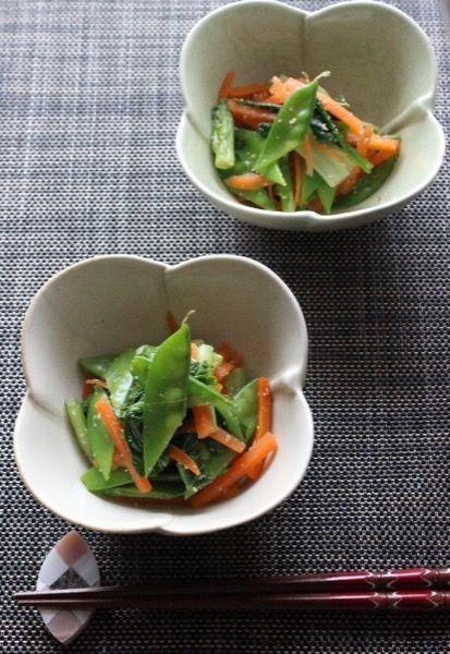 絹さやと小松菜とにんじんのゴマ酢和え by hiromi | レシピサイト ...