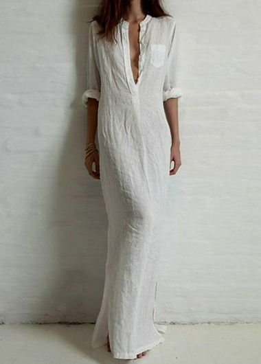Side Slit Long Sleeve White Dress