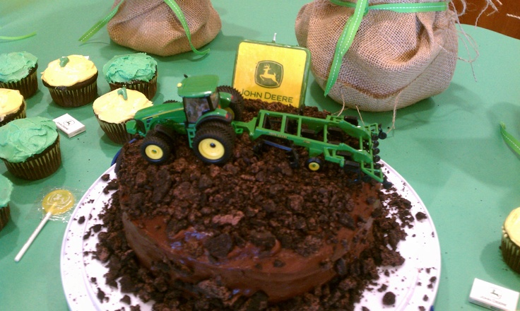 "Tractor birthday cake, crush chocolate stuffed oreos and spread on top to make the ""dirt"" for the tractor to plow through."