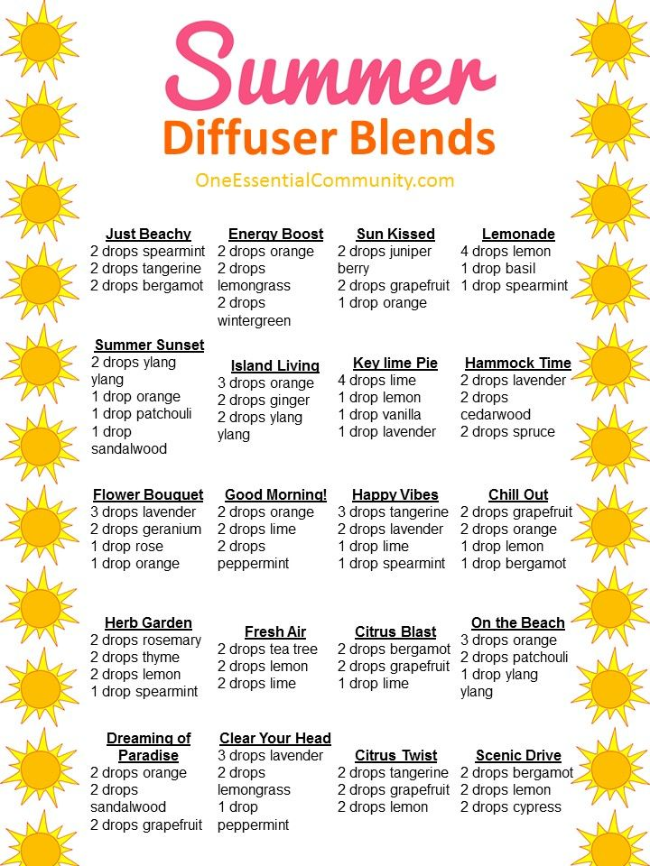 25+ of the best summer essential oil diffuser blends with FREE PRINTABLE