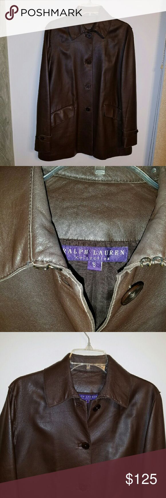 Ralph Lauren Purple Label ladies leather jacket Ralph Lauren Purple Label Collection leather lambskin jacket, flattering length, signature engraved buttons, beautiful condition, Size 6 / Small Ralph Lauren Purple Label Jackets & Coats Trench Coats