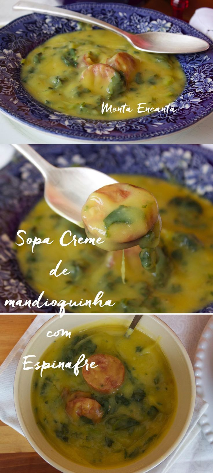 Sopa Creme de Mandioquinha com Espinafre e rodelas de linguiça calabresa defumada, servida bem quente para aquecer no inverno.