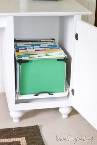 This is about 10 times cuter than a battered old metal cabinet. Diy file cabinet via Beneath My Heart