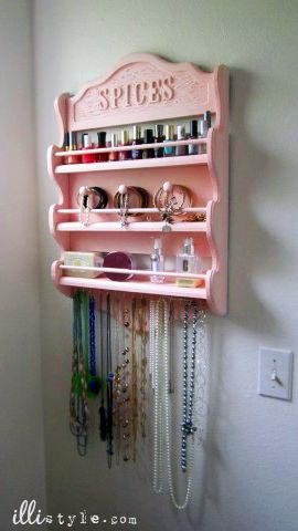 love it! re-purposed spice rack to make jewelry and nail polish holder!! This would work great for perfume too :) Now I just need to find an old spice rack! love it! must try!