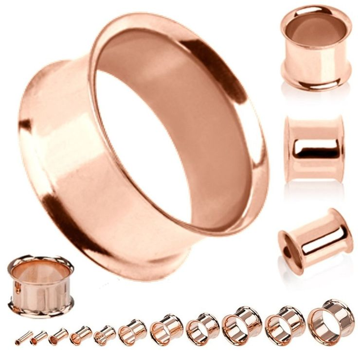 Pair Rose Gold Stainless Steel Ear Tunnels Gauges Flesh  Earlets Tunnels Gauges #FashionJewelry4Less #Doubleflaredeartunnelsgauges