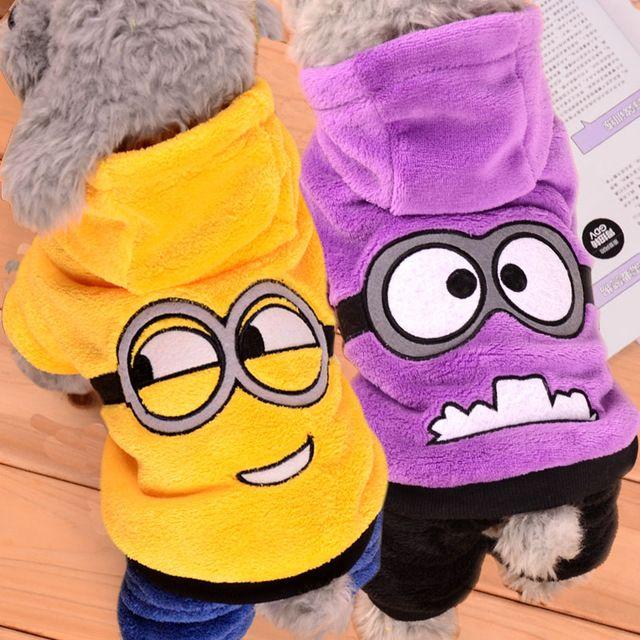 Roupas de inverno para Cães Pet Costume Minions para Chihuahua Teddy Cloting Roupas Jaqueta Casaco Macacão Hoodie Do Filhote de cachorro Do Cão Do Gato 30